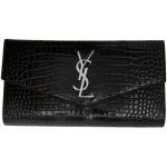 Black Large Croc Uptown Flap Wallet