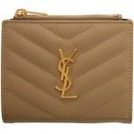 Beige Monogramme Zippered Bifold Wallet