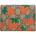 Brown & Red GG Strawberry Print Wallet