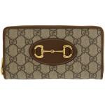 Beige & Brown GG Supreme 'Gucci 1955' Horsebit Zip Around Wallet