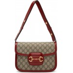 Beige & Red 'Gucci 1955' Horsebit Shoulder Bag