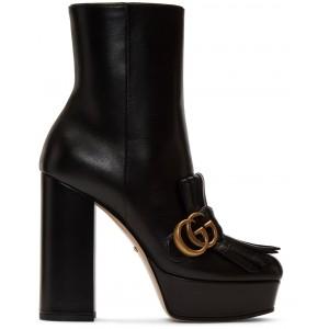 Black Leather Fringe GG Platform Boots