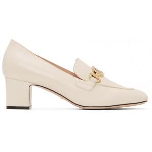 White Zumi Mid-Heel Loafers