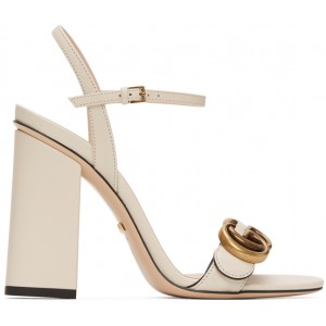 White GG Marmont Heeled Sandals