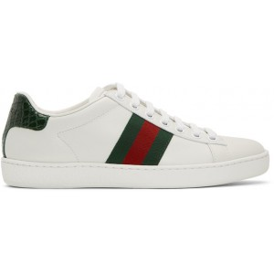 White & Green Croc Ace Sneakers