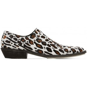 White & Brown Leopard Slip-On Derby Loafers