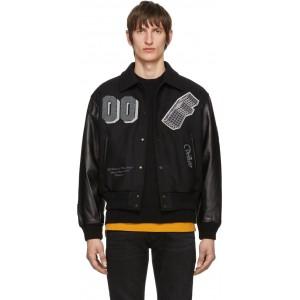 Black Leather 'Golden Ratio' Varsity Jacket