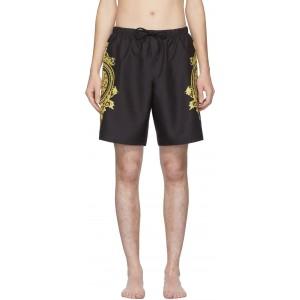 Black & Gold Boxer Swim Shorts