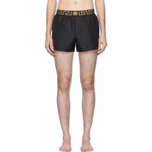 Black Greek Key Swim Shorts