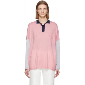 Pink & Navy Wool Oversized Long Sleeve Polo