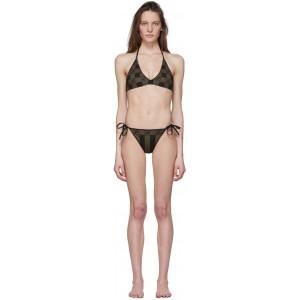 Brown 'Forever Fendi' Stripe Bikini