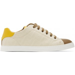 Beige & Brown Canvas Leather Sneakers