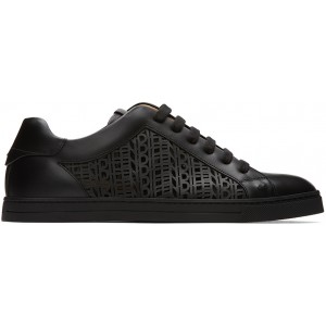 Black Leather Logo Sneakers