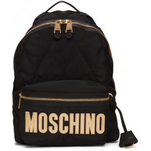 Black Quilted Logo Backpack