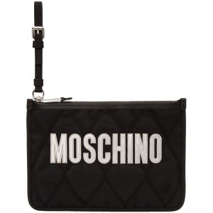 Black Quilted Logo Pouch