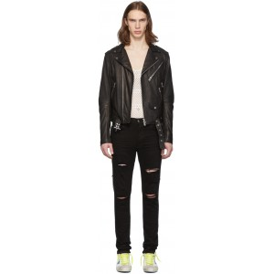 Black Leather Lightweight Biker Jacket