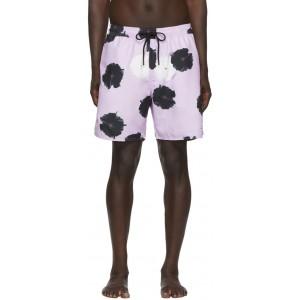 Purple Timothy Moon Flower Swim Shorts