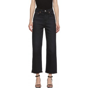 Black Ribcage Straight Ankle Jeans