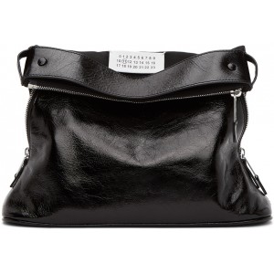 Black 5AC Glossy Leather Pouch