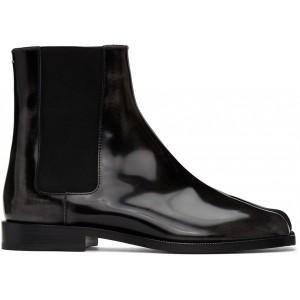 Black Patent Tabi Chelsea Boots