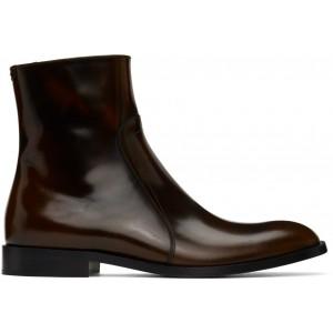 Brown Zip Boots