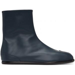 Navy Flat Tabi Boots