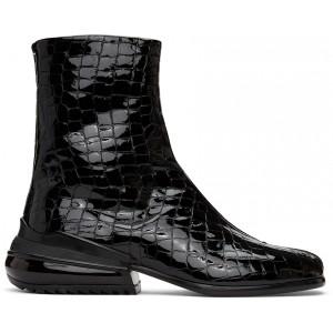 Black Croc Airbag Tabi Boots