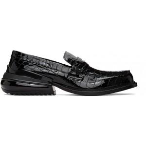 Black Croc Airbag Loafers