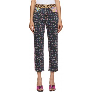 Multicolor Mixed Print Jeans