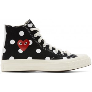 Black Converse Edition Polka Dot Heart Chuck 70 High Sneakers