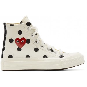White Converse Edition Polka Dot Heart Chuck 70 High Sneakers