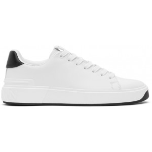 White & Black Leather B-Court Sneakers