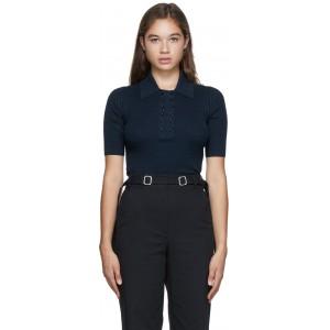 Navy & Black Knit Marl Polo