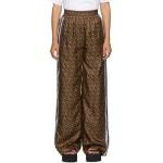 Brown Silk Seighford Monogram Trousers