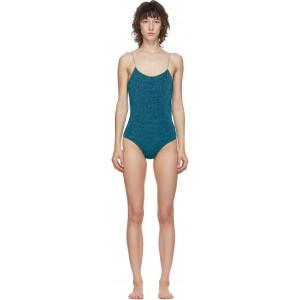 Blue Lurex Lumiere One-Piece Swimsuit