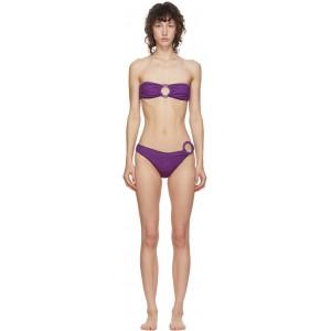 Purple Lurex Strapless Ring Bikini