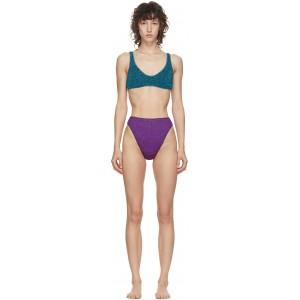 Blue & Purple Lurex Sporty Bikini