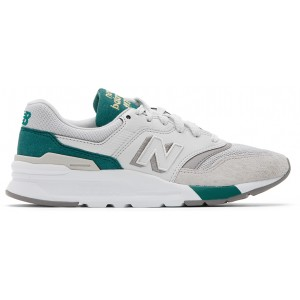 White & Green 997H Sneakers