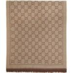 Brown Jacquard Wool GG Scarf