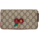 Beige GG Cherries Zip Wallet