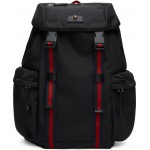 Black Medium Techno Canvas Backpack