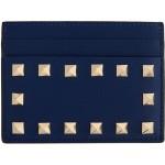 Blue Valentino Garavani Rockstud Card Holder