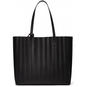 Black Leather Pleated Tote Bag