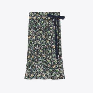 Pleated Silk Wrap Skirt