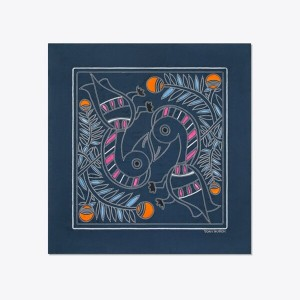 EMBROIDERED TOUCAN SQUARE SCARF