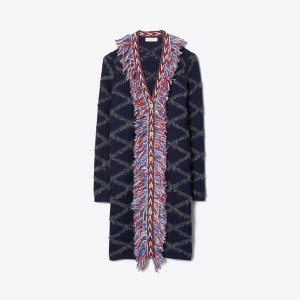 TWEED-TRIM LONG CARDIGAN
