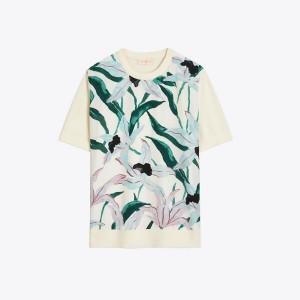 Silk-Front Short-Sleeve Sweater