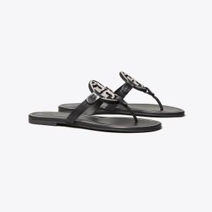 MILLER CRYSTAL-LOGO SANDAL, LEATHER