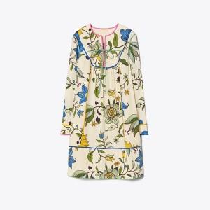 CONTRAST-BINDING JACQUARD DRESS