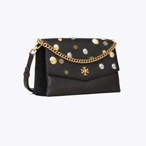 KIRA MIXED-MATERIALS EMBELLISHED SHOULDER BAG